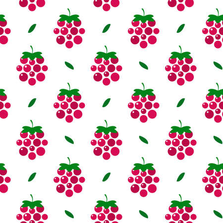 beautiful raspberry with leaves. Vector seamless background, illustration