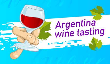 Invitation design for tasting Argentina wine. Vector design banner, card, flyer