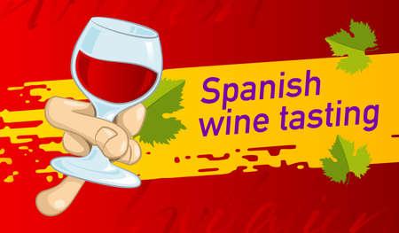 Design invitations for tasting Spanish wine. Vector design banner, card, flyer