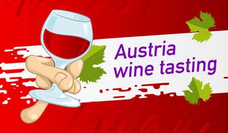 Design an invitation to a tasting of wine Austria. Vector design banner, card, flyer 矢量图像