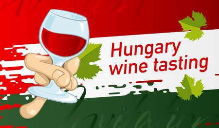 Invitation design for tasting Hungary wine. Vector design banner, card, flyer