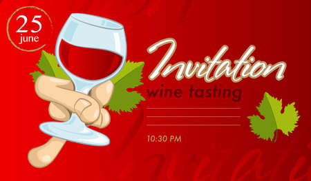 Design invitations for an event on the wine tasting with a blank space for text. Vector illustration