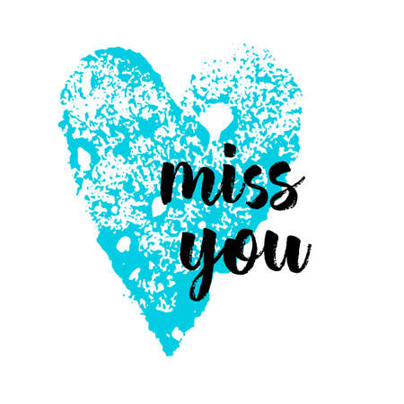 blue heart and the words miss you Vector illustration 向量圖像