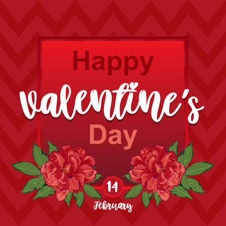 Red card Valentines Day with peony flowers. Wallpapers, invitations, posters, brochures, banners. Vector illustration