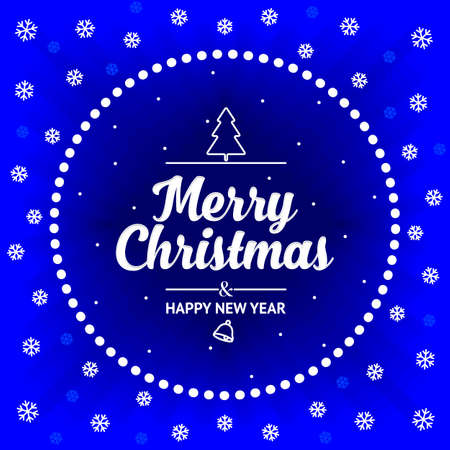 Christmas card with a round frame and white snowflakes on a blue background. happy New Year. Vector, illustration