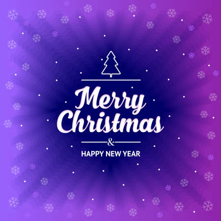 Postcard template Merry Christmas and Happy New Year on purple background. Vector, illustration