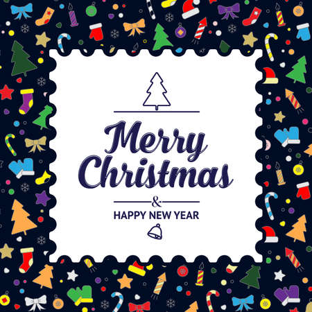 Merry Christmas card. colorful icons and decor elements on a black background. Vector, illustration Illustration