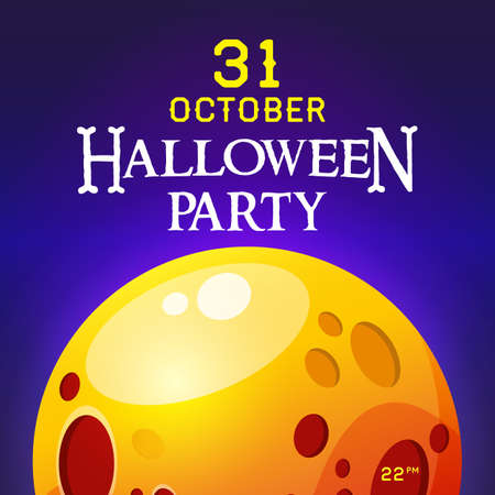 Square poster with halloween party invitation. Yellow moon on the background of the night sky. Vector, illustration Çizim