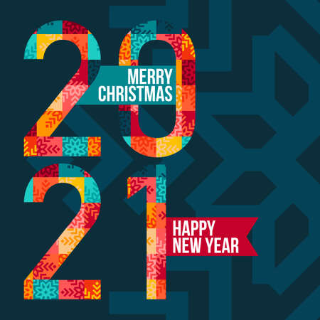 Abstract banner 2021 happy new year and merry christmas. Bright numbers from colored patches on a blue background. Vector, illustration