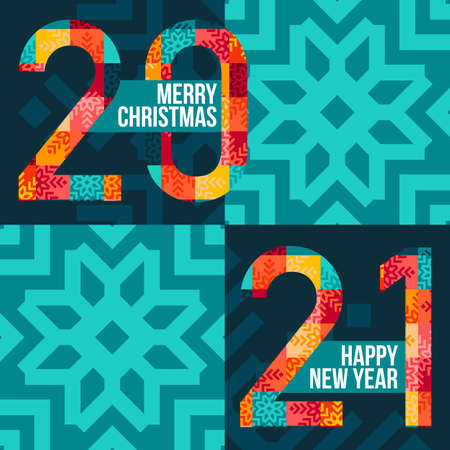 Merry christmas and happy new year 2021 square banner. Bright numbers from colored patches on a blue background. Vector, illustration