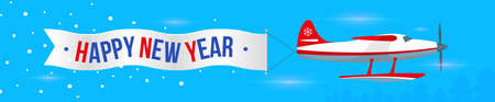 Single-engine airplane with valentine card, lettering Happy New Year. Blue background. Web banner panorama. Vector, illustration