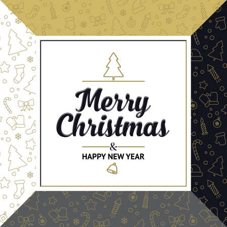 Square banner Merry Christmas and Happy New Year. gold badges and decorative elements in the background. Vector, illustration Illusztráció