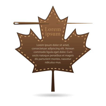 template with space for text, leather label in the shape of a maple leaf. Canada Day holiday. Vector, illustration