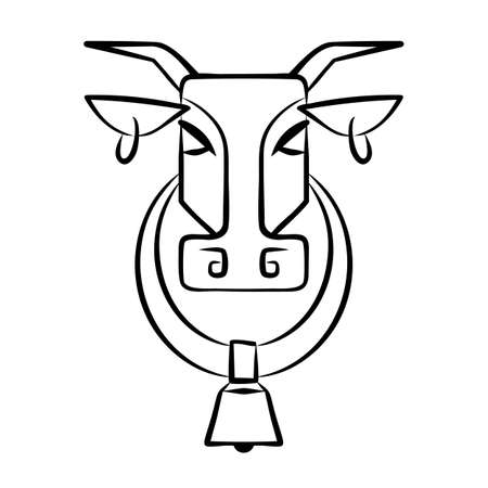 Vector image of the head of a cow with rings in the ears and a bell in the neck. Logo. Isolated cow head on a white background. Abstract animal Illustration