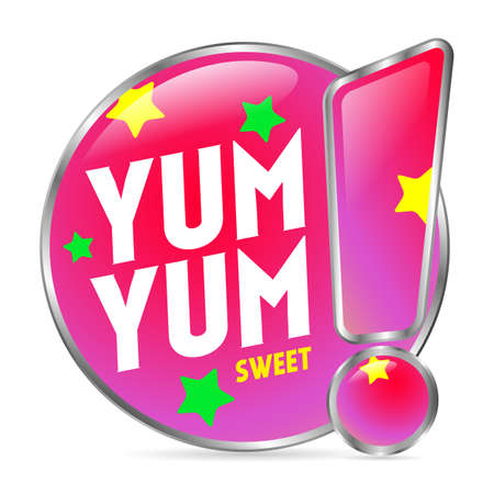 color information sign, Yum Yum SWEET on a white background. sticker for the store. Isolated object. Vector illustration