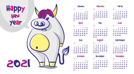 Calendar 2021. Cute bull with a nose ring, happy new year, cartoon animals. Vector illustration
