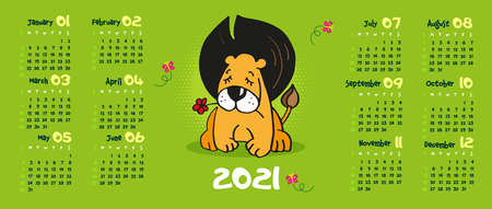 Calendar 2021. lion with closed eyes holding a red flower in his teeth. Green background. cartoon animal. Vector illustration 矢量图像