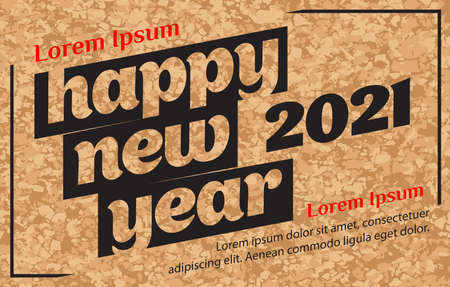 poster happy new year 2021 on brown background. textured cork wall. Holiday concept. Vector illustration
