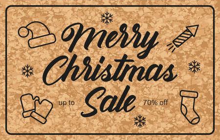 Christmas sale poster on brown background. Set of New Year icons. Holiday concept. Vector illustration Illusztráció