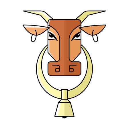 Vector image of the head of a cow with rings in the ears and a bell in the neck. Isolated cow on a white background. Abstract animal Illustration