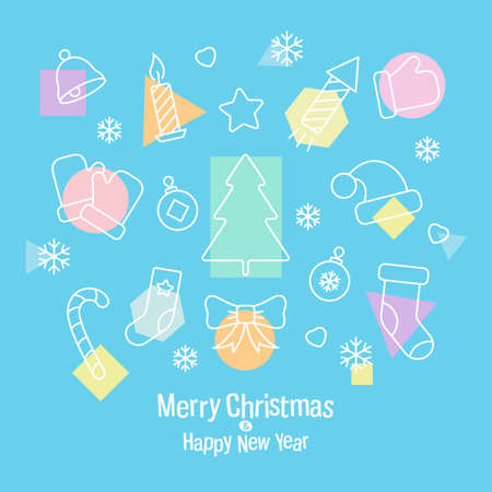 Beautiful greeting card with a set of Christmas icons on a blue background. Square banner With a merry Christmas and a happy new year. Vector, illustration