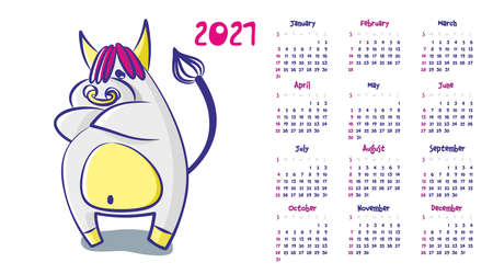 Calendar 2021. The cartoon bull was offended and crossed his arms. Vector illustration