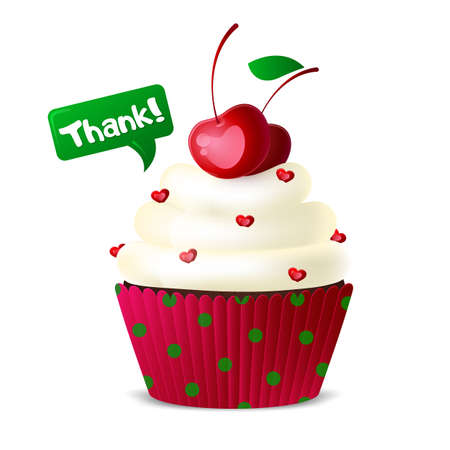 Sweet cupcake with white icing and cherry berries on a white background. decoration with hearts. Vector illustration