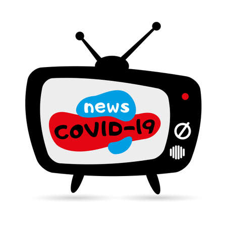 Old tv with antennas cartoon style. News COVID-19, coronavirus, pandemic. Vector illustration