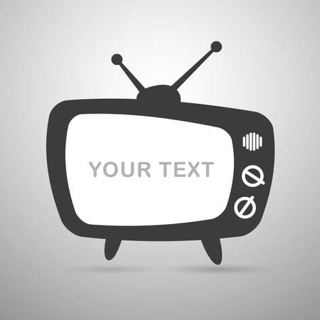 Icon old tv with antennas with empty place on the screen under the text. Vector illustration