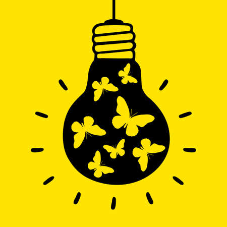 Black light bulb with yellow butterflies on a yellow background. Vector illustration