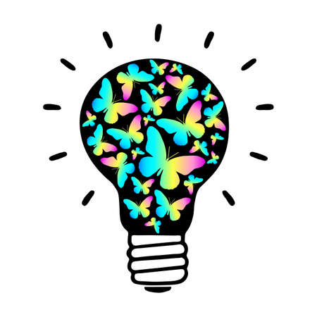 sign of a black light bulb glowing from colored butterflies. Isolated object on a white background. Vector illustration
