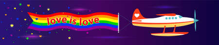 Panorama web banner. Single-engine plane with the flag of LGBT, the inscription Love is Love. Dark background. Vector illustration 向量圖像