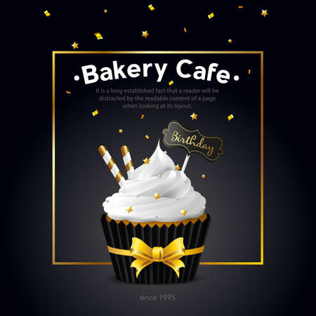 Flyer cafe bakery. A sweet cupcake with white icing and a birthday tag. Template banner, card. Vector illustration