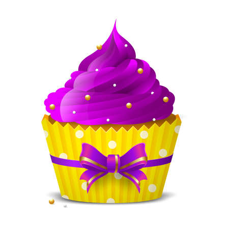 Sweet cupcake with purple icing decoration of golden balls on a white background. isolated object. Vector illustration