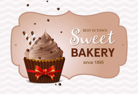 Flyer sweet bakery, homemade desserts, sweets. Banner template, gift card muffins store. Chocolate cake. Vector illustration