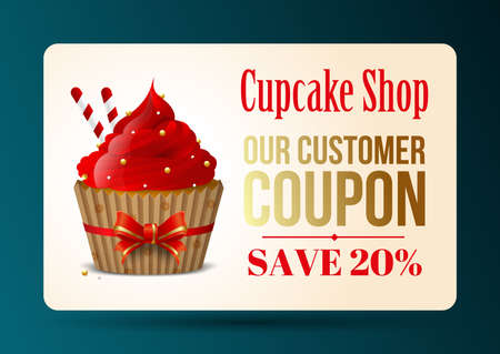 Cupcake store coupon, homemade desserts, sweets. Cafe Sale. Banner, bakery, confectionery, shop design element, flyer, gift card. Vector illustration 向量圖像