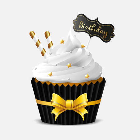Sweet cupcake with white icing on a white background. Tag with the inscription Birthday. Vector illustration 向量圖像