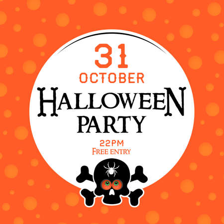 Square card or poster with Halloween party invitation. black skull with a spider on the forehead and cross bones on an orange background. Vector, illustration