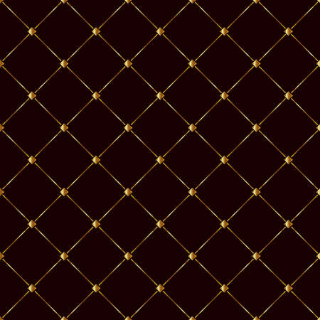 Brown background with gold squares and diagonal lines. Vector, illustration