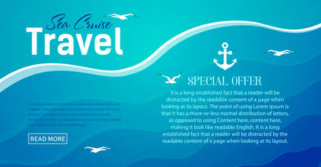website for cruise travel by sea and oceans. River walks. Vector, illustration Ilustração