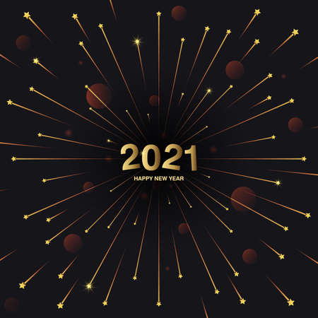 Square banner Happy New Year 2021. Flying rays of salute or fireworks on a black background. The concept of the holiday, festival. Vector, illustration