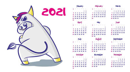Calendar 2021. Cartoon bull with a ring in his nose, turns tail. Vector illustration