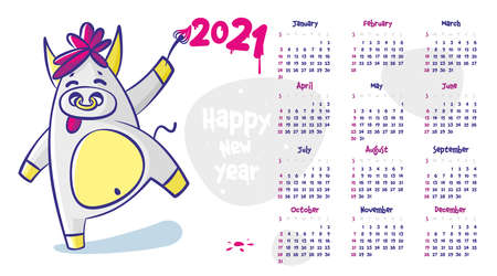 Funny calendar of 2021. Crazy bull with a nose ring, a symbol of the new year, a cartoon animal. Chinese horoscope calendar 向量圖像