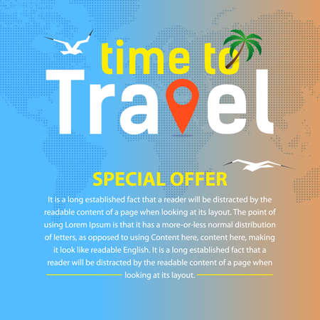 Square flyer or banner for travel around the world. Vector, illustration