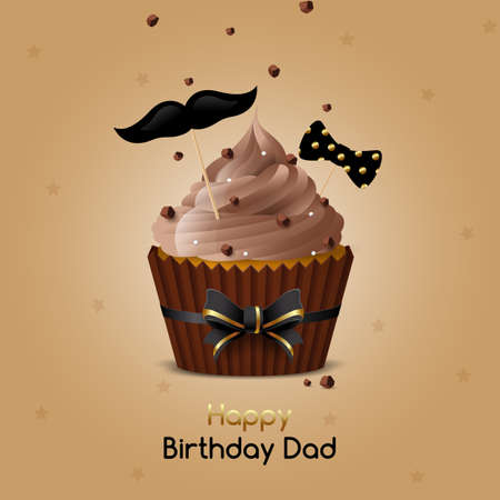 Greeting card Happy Birthday Dad. Chocolate muffin with coffee icing and pieces of chocolate. Vector illustration Stock Illustratie