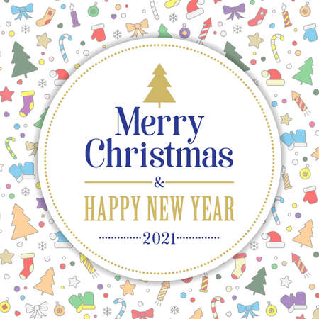 Merry Christmas and Happy New Year card. colorful icons and decor elements on a white background. Vector, illustration
