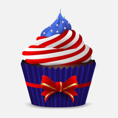 Chocolate cupcake with icing in the colors of the USA flag on a white background. Isolated object. Vector illustration Stock Illustratie