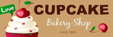 Banner cupcake bakery shop. A cake, a cupcake with cream and ripe cherries. Suitable for posters, advertisements, announcements, labels, menus for cafes and restaurants. Vector illustration