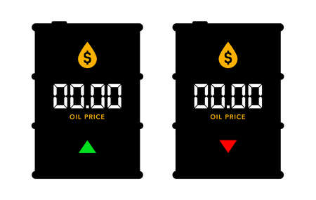 two barrels of oil and a place for the price, on a white background. The concept of rising and falling oil prices in the world. Template for text prices. Flat style. Vector illustration