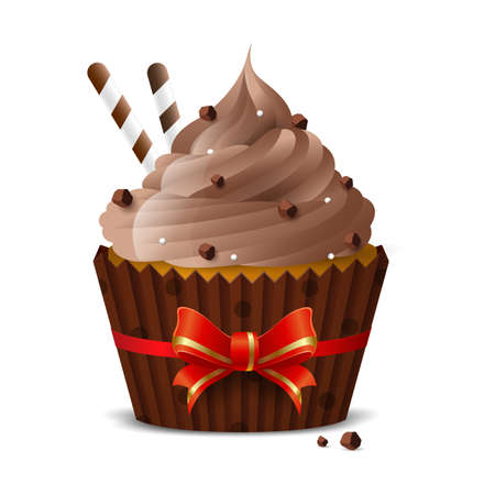 Sweet cupcake with coffee icing, chocolate chips and thin wafer tubes on a white background. isolated object. Vector illustration
